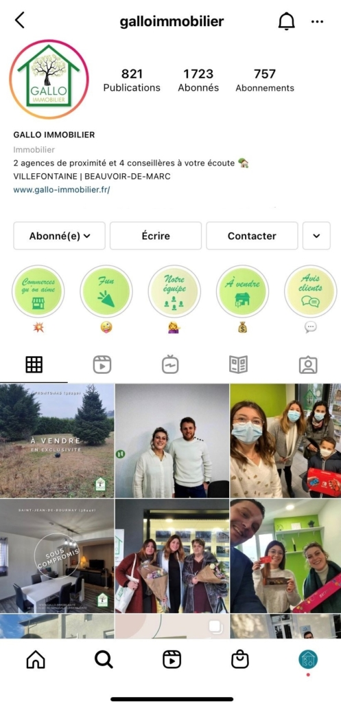 compte instagram immobilier